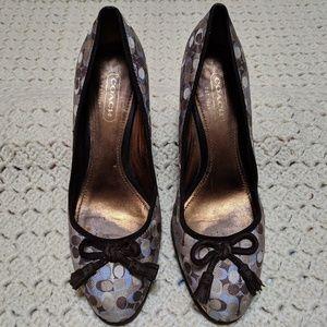 Coach suede wedge heels. Blue and brown w/tassles
